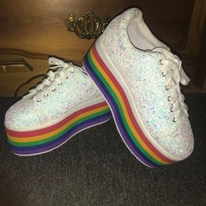 "WHITE GLITTERY SNEAKERS--3""INCH RAINBOW PLATFORMS"